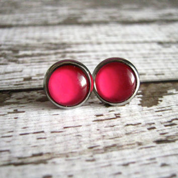 Bright Red Stud Earrings : Glass Jewelry