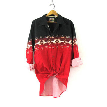 Vintage southwesternl print shirt. western shirt. Black and red snap up shirt.