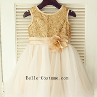 Golden Flower Girl Dresses, GoldenFlower Girl Dress Online, GoldenTutu Dresses