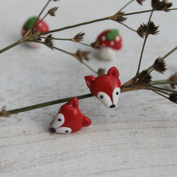 Set of four earrings- Lovely Tiny Fox Earrings with Mushroom Toadstool  Earrings-Mix and Match  Stud Earrings- Hypoallergenic studs.