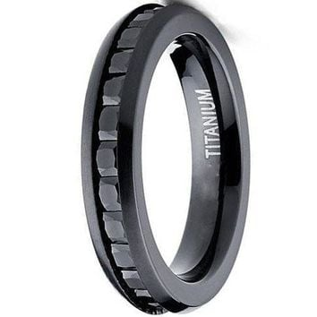 CERTIFIED 4MM Black Brushed Princess Cut Ladies Eternity Titanium Ring Wedding Band with Black Cubic Zirconia CZ