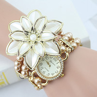 2017 New Arrival Fashion Flowers Pearl Bracelet Watch & Creative Ladies watch & Bracelets & Bangles Watch With Free Shipping