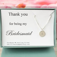 Thank you for being my Bridesmaid personalized bridesmaids gift sterling silver initial necklace, gift for bridesmaid jewelry gift box