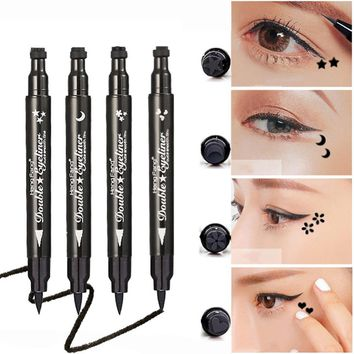 1Pcs Easy To Makeup Liquid Eyeliner Pencil Waterproof Eyeliner Pen With Seal Stamp Double Head Eyeliner Pencil Tool #251823