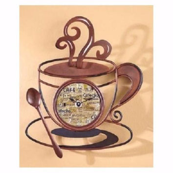 Wall Clock Coffee Mug Art Metal Decor Cafe House Kitchen Bistro Latte Java NEW
