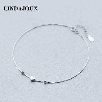 LINDAJOUX 925 Sterling Silver Romantic Small Heart Charm Anklet For Women S925 Ankle Bracelet Adjustable Length