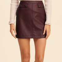 Vegan Leather A-Line Skirt
