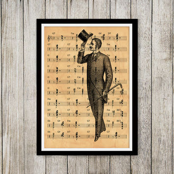 Aged print Victorian poster Note sheet print Old paper art NP010