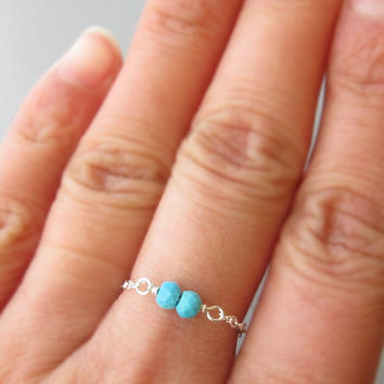 Sterling Silver Genuine Turquoise Chain Ring, Blue Ring, Gemstone Chain Ring, Dainty Ring, Simple Ring, December Birthstone Ring