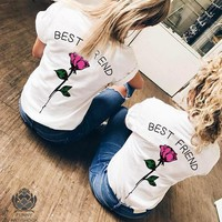 2018 Fashion Round Neck Letters Printed Rose Short-Sleeved T-Shirt