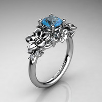 Nature Inspired 14K White Gold 1.0 Ct Blue Topaz Diamond Leaf Vine Unique Floral Engagement Ring R1026-14KWGDBT