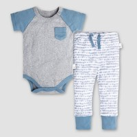 Burt's Bees Baby Boys' Organic Cotton Raglan Pocket Bodysuit and Pants Set - Blue