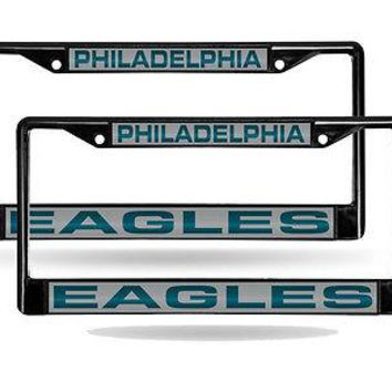 Philadelphia Eagles Black Metal (2) Laser License Plate Frame Set