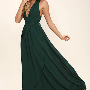 Stop and Stare Forest Green Halter Maxi Dress