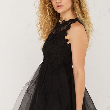 Lace and Tulle Dress in Black