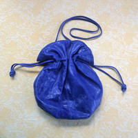 Vintage 1980s Cobalt blue Letisse leather boho drawstring bag