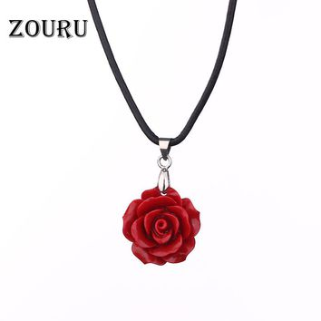 Rose Pendant Necklace Genuine Leather Chain Coral Red/Pink/White Rose