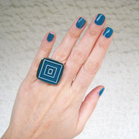 Teal statement ring concentric squares blue-green emerald minimal abstract geometric silver adjustable hand painted bohemian boho jewelry