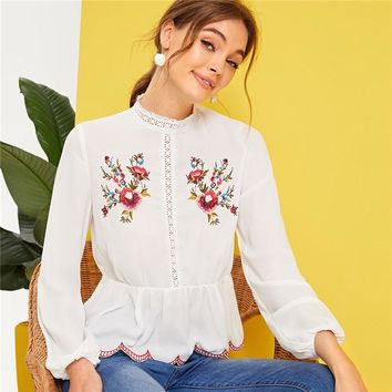 Mock-Neck Lace Insert Embroidered Detail Top Stand Collar Ruffle Hem Women Tops Blouses