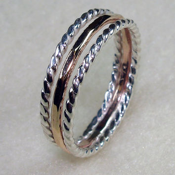 Stacked Ring Twisty Argentium Silver