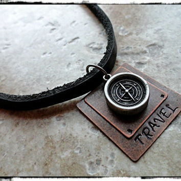Travel Mens Layered Hand Stamped Leather Compass Charm Necklace Mens Compass