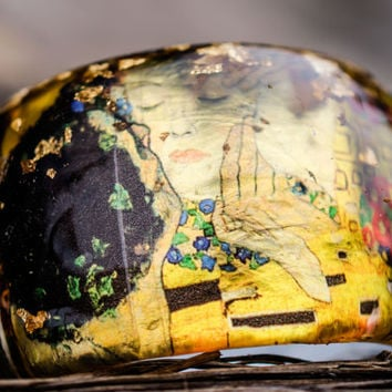 "Gustav Klimt Bangle Resin Art Painting ""the Kiss"" Gold Silver Leaf Flakes Austrian Symbolist painter"