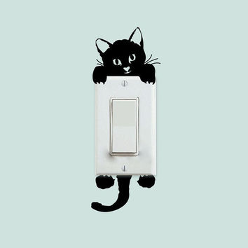 New Cat Wall Stickers Light Switch Decor Decals Art Mural Baby Nursery Room = 5987846785