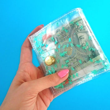Turquoise wallet Iridescent Glitter wallet Business Card Holder Gift Card Holder mermaid vinyl ID holder playboy 90s cashier wallet vegan