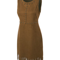 LE3NO Womens Sleeveless Faux Suede Fringe Dress with Stud Trim