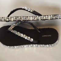 Rhinestone Bling Flip Flop by EVRhinestones on Etsy