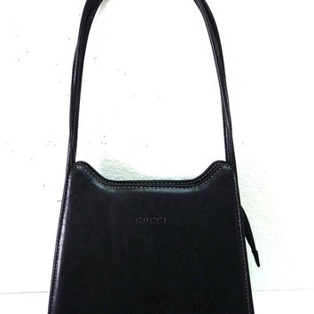 Vintage Gucci Black Leather Shoulder Bag Made In Italy