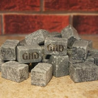 Engraved Black Ice Stones Set including Gift Bag - Personalized with Font Selection (Up to 12 Stones per order)