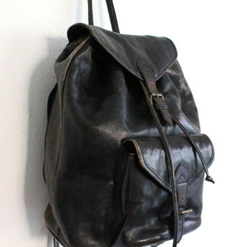 Vintage 80s Black Distressed Leather Backpack // Unisex Large School Bag