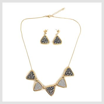 "Necklace Stainless Steel Multi-tone Triangles 20"" with Matching Earrings"