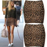 2015 Women Fashion Short Bandage Leopard Printed Sexy Pencil Mini Skirts Dresses = 1946103876