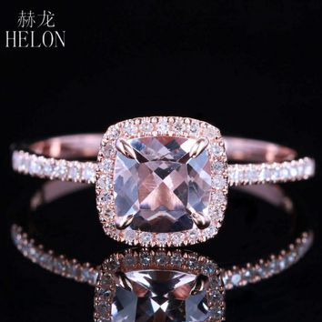 HELON Claw Prongs 6X6mm Cushion Pink morganite engagement ring Solid 10K Rose Gold Wedding Pave Natural Diamonds Ring Jewelry