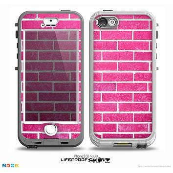 The Pink Brick Wall Skin for the iPhone 5-5s NUUD LifeProof Case