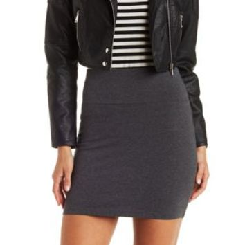 Charcoal Heather Stretch Cotton Bodycon Mini Skirt by Charlotte Russe