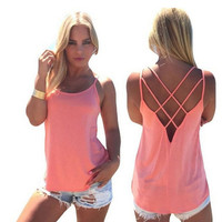 Womens Summer Tank Top Halter Vest +Summer Gift Necklace
