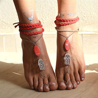 "Women barefoot Boho Sandals ""Hamsa Spirit"""