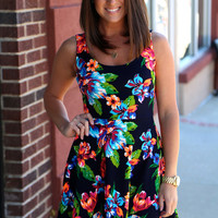 Criss Cross Floral Dress {Navy}