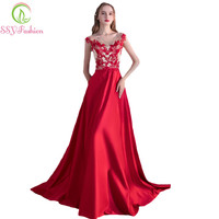Fashion New Red Lace Satin Long Evening Dress The Bride Banquet Elegant Sweep Train Prom Formal Gowns