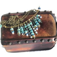 Modern Take on an Ancient Egyptian Collar... with Turquoise, Millefiori glass beads and antiqued brass