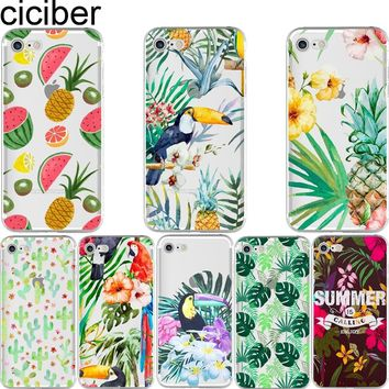 Phone cases Summer Fruit Flower Toucan pineapple leaves cactus soft case cover for iPhone 6 6S 7 plus 5S SE Coque fundas capa