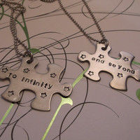 puzzle piece stainless steel necklace...to infinity ... and beyond... stars