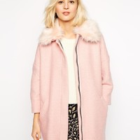 River Island Cocoon Jacket With Faux Fur Collar