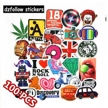 100pcs Mixed funny brand  stickers for laptop