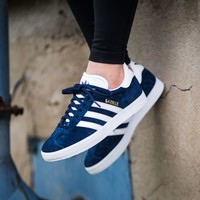 Best Online Adidas Originals Wmns Gazelle Blue / White / Gold Metallic Sneakers Classic Casual Shoes - S76227