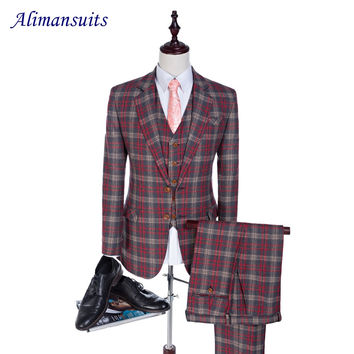 New Tweed Men Suits Tailored Plaid Terno Wedding Suit 2 Buttons Groom Tuxedos 3 Suit Custom Made (Jacket+pants+vest)