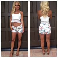 Gardenias Denim Cutoff Shorts - CREAM